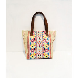 Ethno print cotton linen tote bag