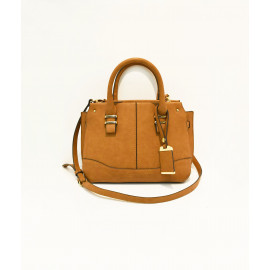 Camel satchel bag with hang tag