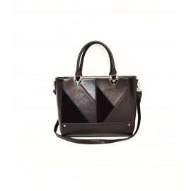 Black panel tote bag