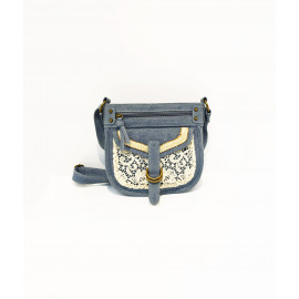 Denim and lace small shoulder bag