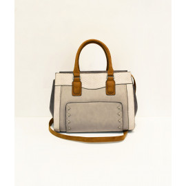 Grey and beige snakeskin structured tote bag