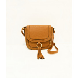 Camel tassel and studded saddle bag