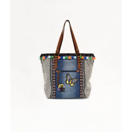 Demin and ethno printed tote bag