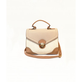 Cream tone snakeskin structured satchel