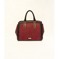 Large satchel in suede texture and skakeskin