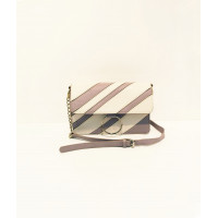 Striped panel shoulder bag