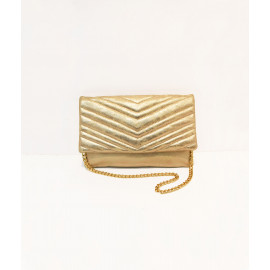Metallic quilted flap clutch bag