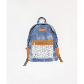 Lace pocket tie-dyed denim backpack
